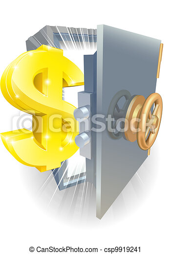 Safe with gold dollar sign - csp9919241