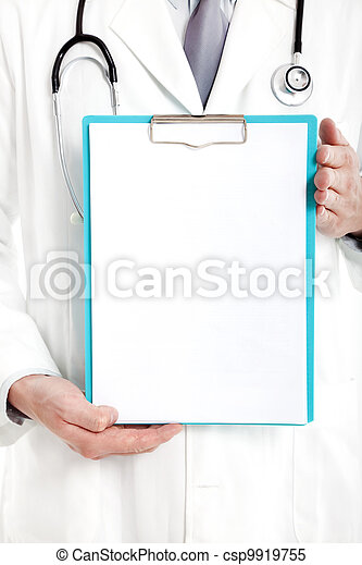 Doctor holding blank clipboard - csp9919755