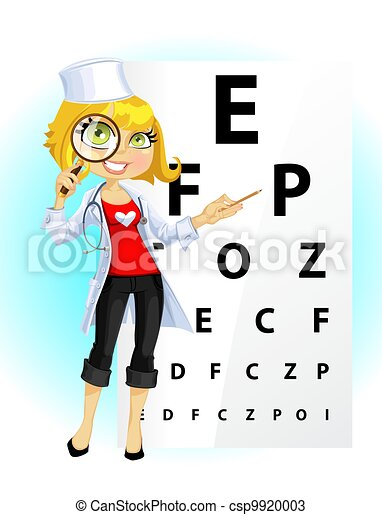Cute woman doctor - ophthalmologist - csp9920003