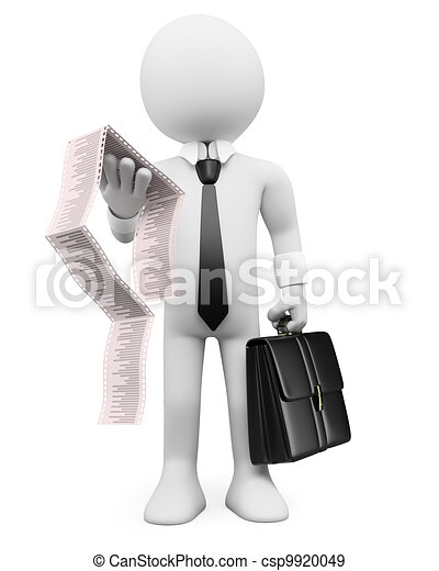 3D business white people. Invoice - csp9920049