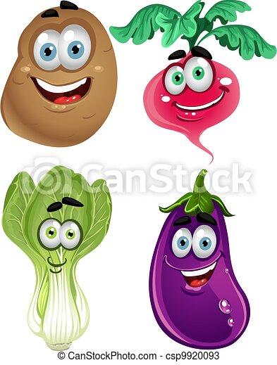 Funny cartoon cute vegetables 3 - csp9920093