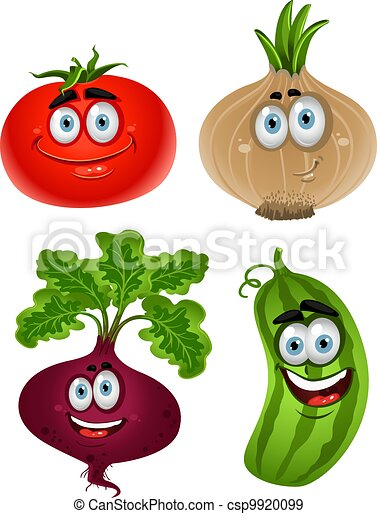 Funny cartoon cute vegetables 1 - csp9920099