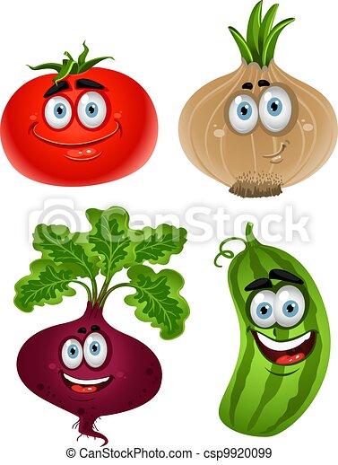 Funny cartoon cute vegetables 1 - csp9920099