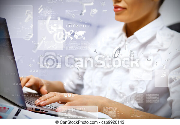Business person working on computer - csp9920143