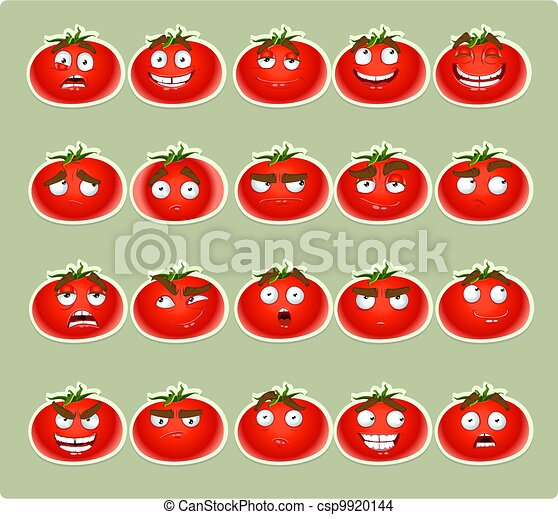 cute cartoon tomato smiles - csp9920144