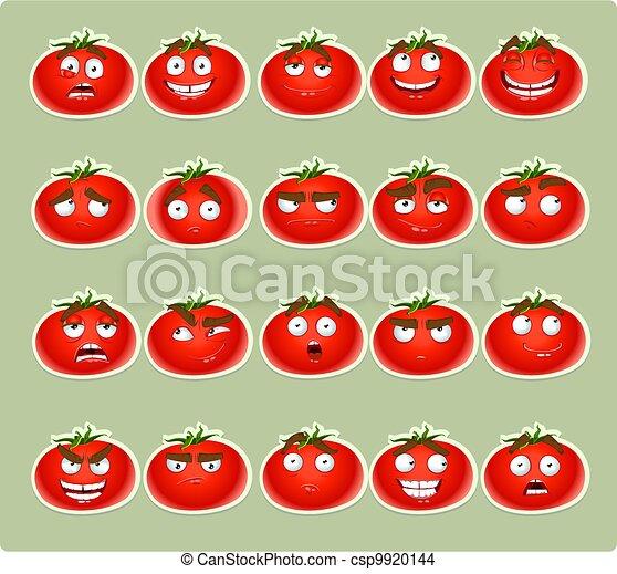 cute cartoon tomato smiles - csp9920144