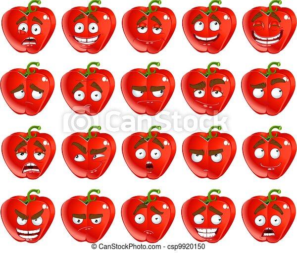 cartoon red Bulgarian pepper smiles - csp9920150