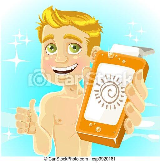 Men presents cream for sunburn - csp9920181