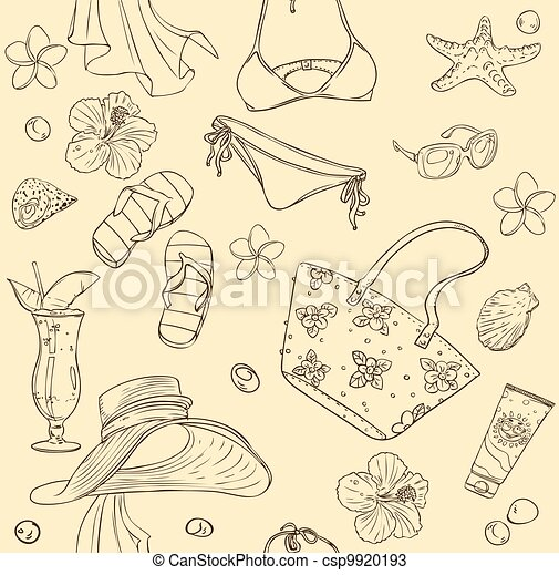 seamless background on beach theme - csp9920193