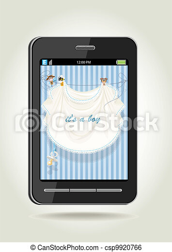 Smartphone - boy announcement card - csp9920766