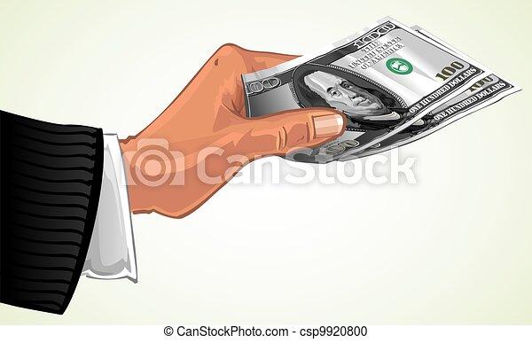 hand transfer two hundred dollars - csp9920800