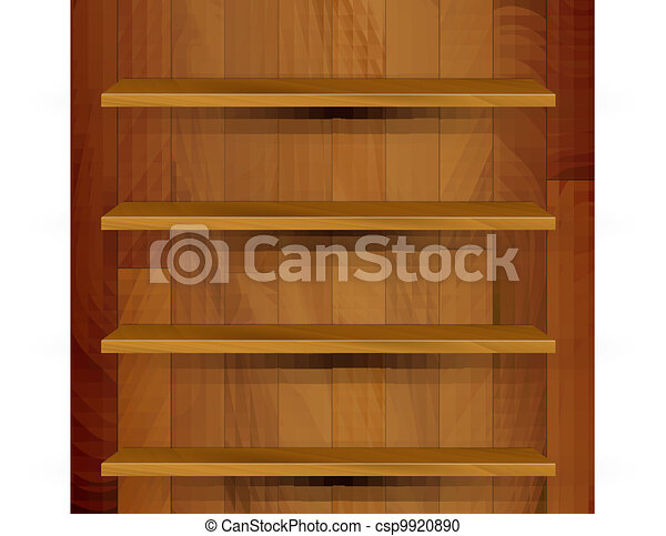 Vector Clipart of Vector wooden empty realistic bookcase illustration ...