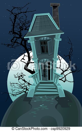 Haunted halloween witch house - csp9920929