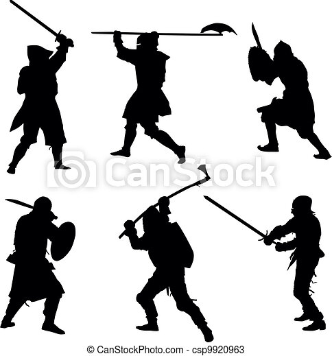 Ancient warriors silhouettes set - csp9920963