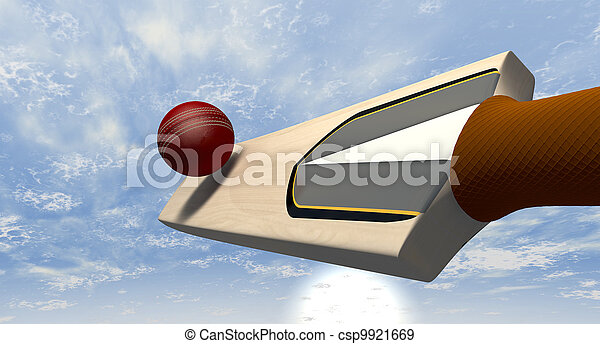 Cricket Bat Striking Ball - csp9921669