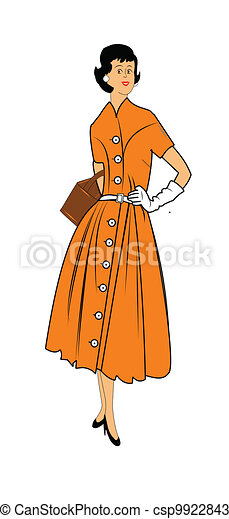 woman in fifties dress  - csp9922843