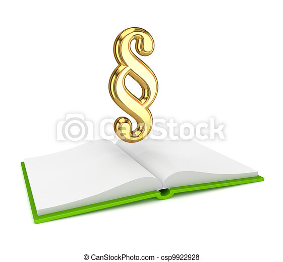 Opened book and golden paragraph symbol. - csp9922928