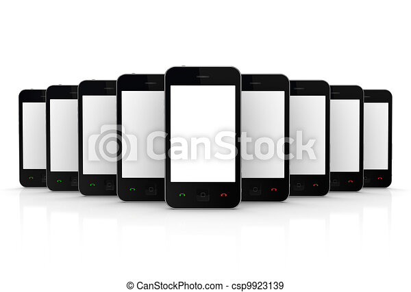 Modern mobile phones with touchscreen. - csp9923139