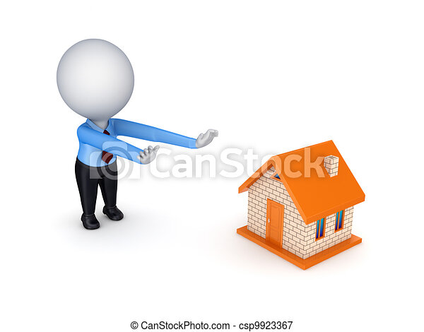3d person pulling hands to small house. - csp9923367