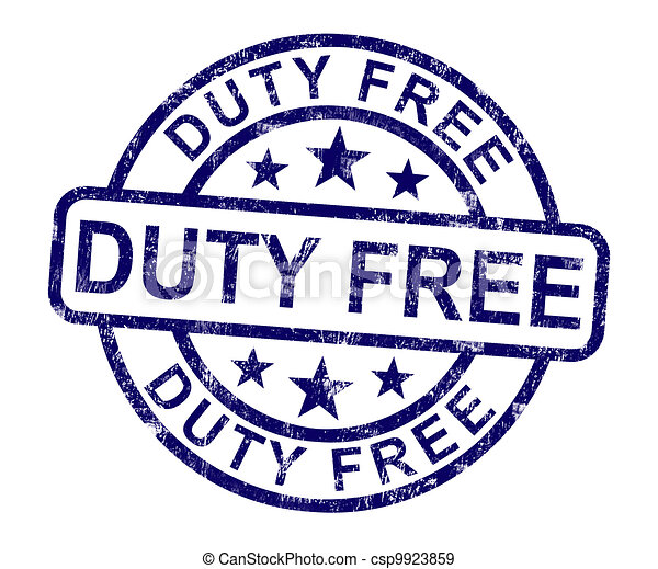 Duty Free Stamp Shows No Tax Shopping - csp9923859