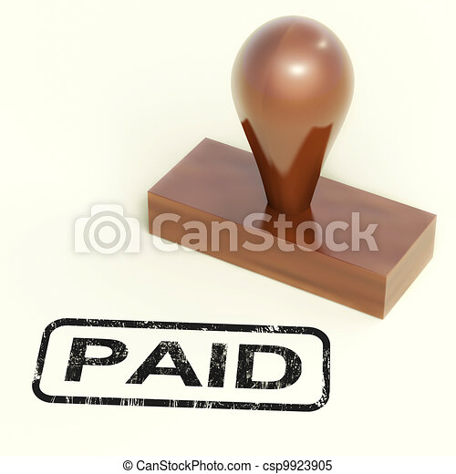Paid Rubber Stamp Shows Payment Confirmation - csp9923905