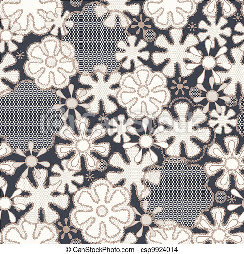 Seamless abstract lace floral pattern - csp9924014