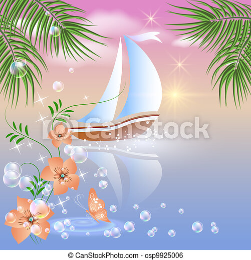 Sailboat floats on the sea  - csp9925006