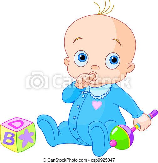 Vector-illustration af Baby, sød, Dreng - Baby, Dreng ...
