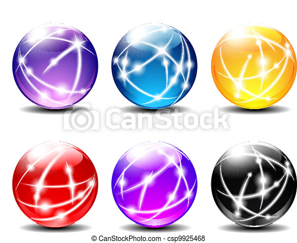 Six Spheres Balls illustration with - csp9925468