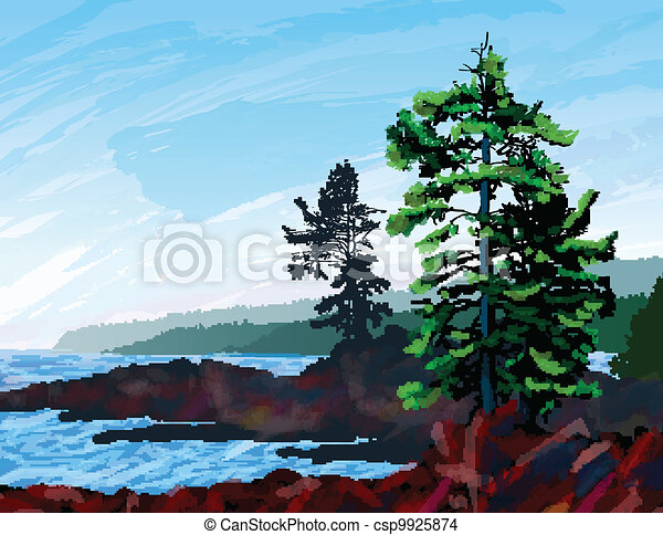 West Coast Landscape Painting - csp9925874