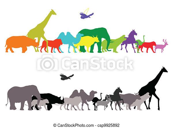 silhouette of wildlife safari - csp9925892