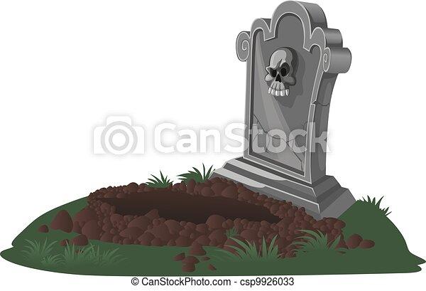 Vecteurs de halloween d corations pierre tombale et creus tombe csp9926033 recherchez - Pierre tombale dessin ...