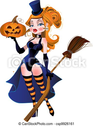 beautiful witch and pumpkin - csp9926161