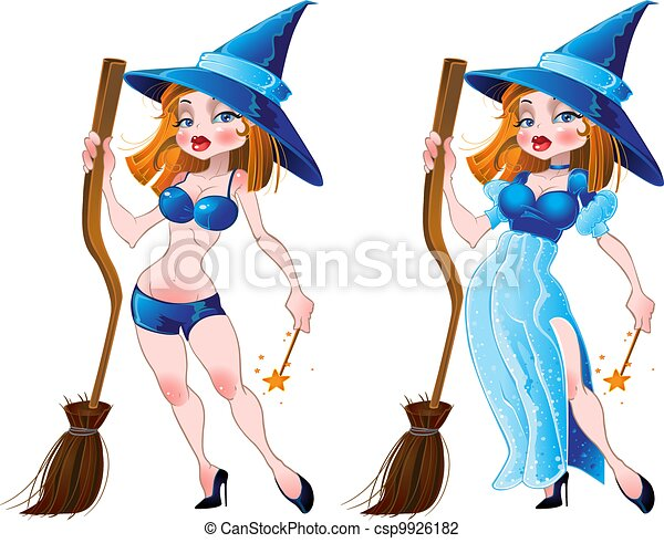 naked witch and blue dress - csp9926182