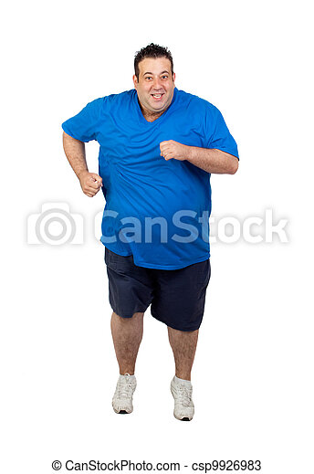 Fat man running  - csp9926983