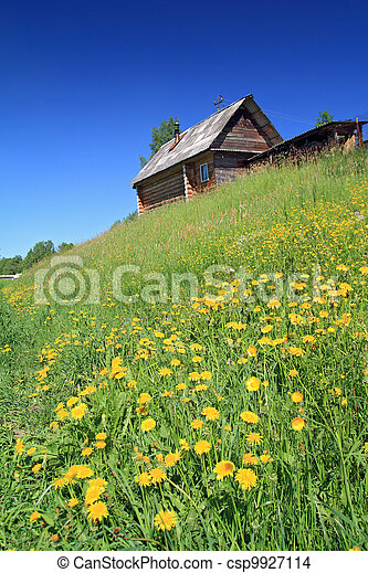 rural house on small hill - csp9927114