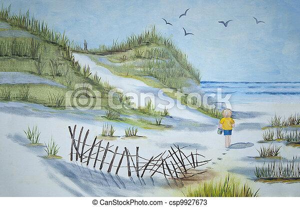 gyalogló, tengerpart, gyermek - csp9927673