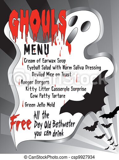 Humorous Halloween Menu - csp9927934