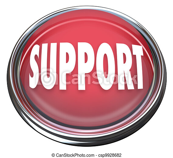 Support Red Round Button Get Help Answers to Questions - csp9928682