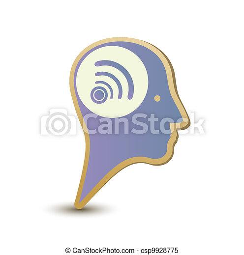Wireless man. Label sticker. Modern concept - csp9928775