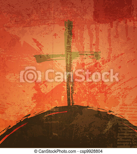 The cross on the grunge background. The biblical concept. Sunset - csp9928804