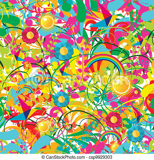 Vibrant floral summer pattern - csp9929303