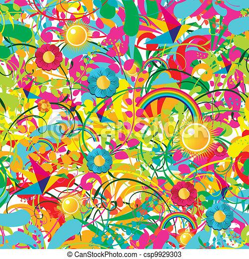 Vibrant floral summer pattern - csp9929303