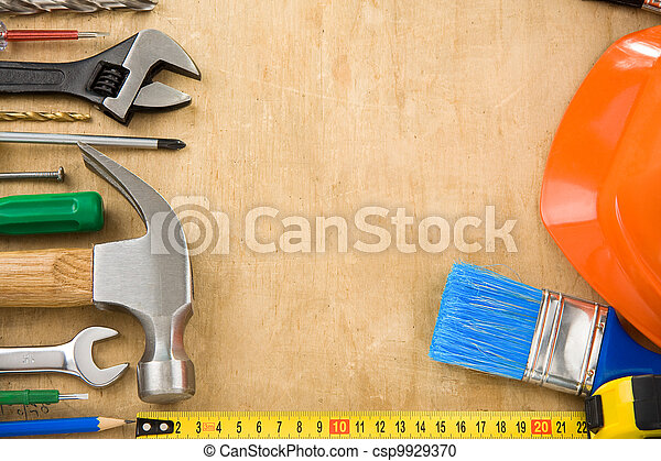 construction tools on wood - csp9929370