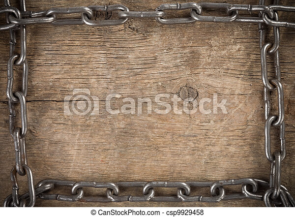 metal chain on old wood