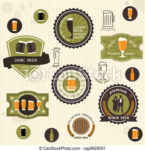 Beer badges and labels in vintage style - csp9929591
