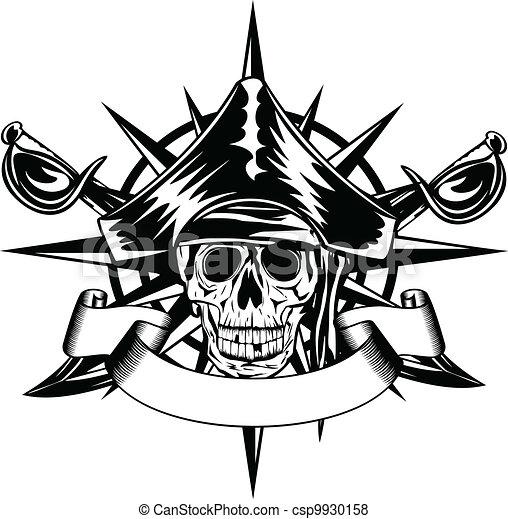 skull and wind rose - csp9930158