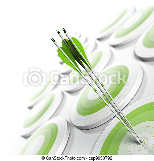 many green targets and three arrows reaching the center of objective, image fading from green to white with blur effect, square format. Strategic marketing or business competitive advantage concept. - csp9930792
