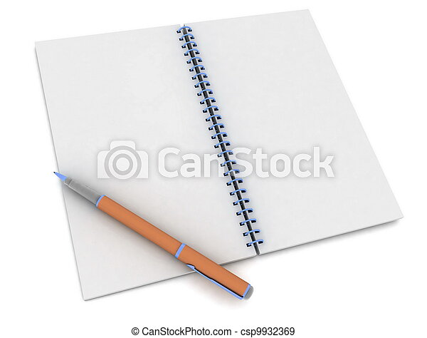 pen and notebook on white - csp9932369