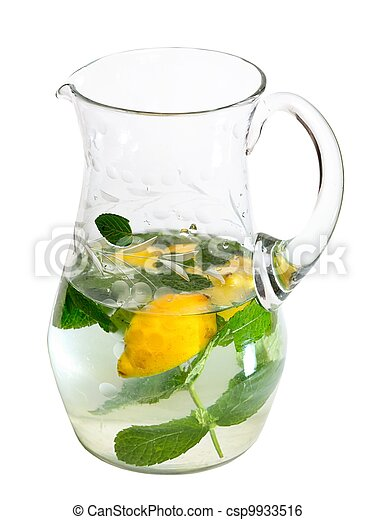 Pitcher refreshing drink isolated on white background - csp9933516